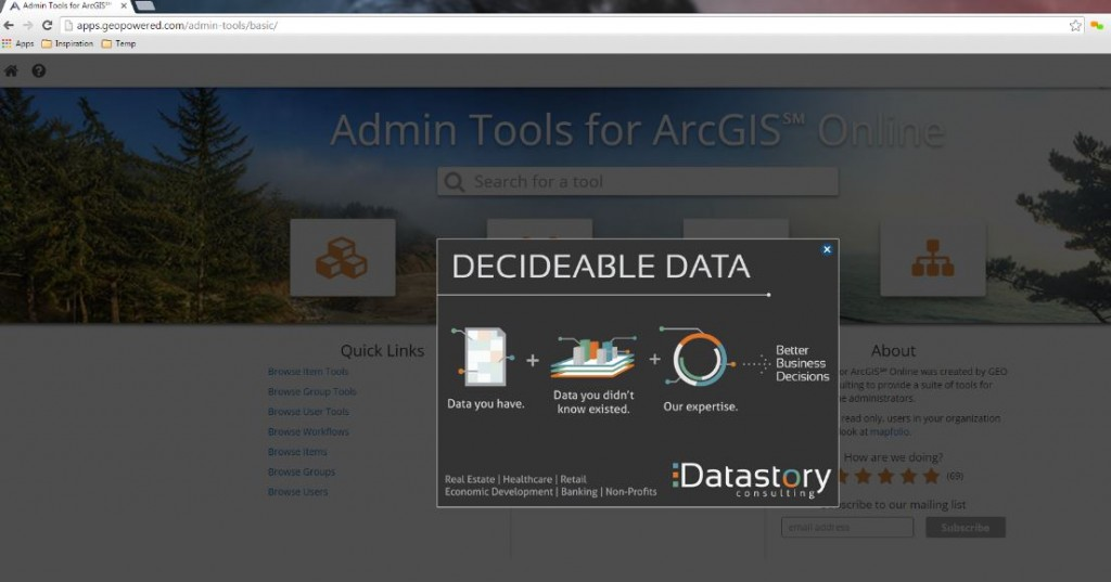 "Geo Marketing Tip - ""AppVertising"" Your Geo App Inside Admin tools, the #1 ArcGIS Marketplace App"