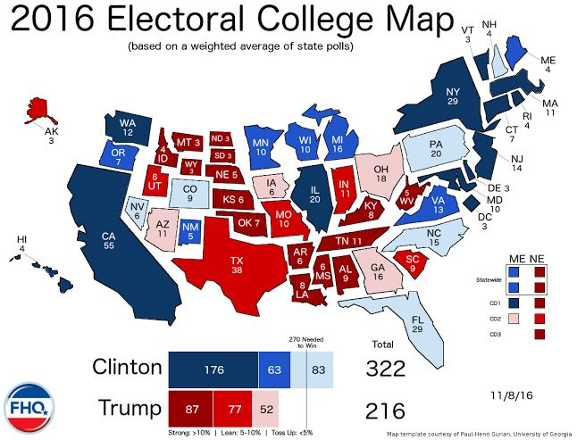 the electoral college map 11 8 16 election day