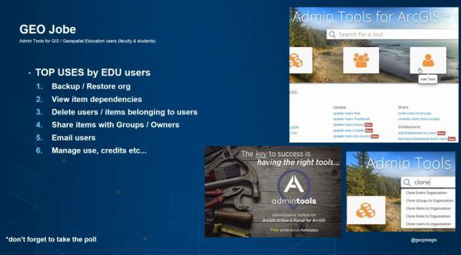 admin tools for GIS EDU programs