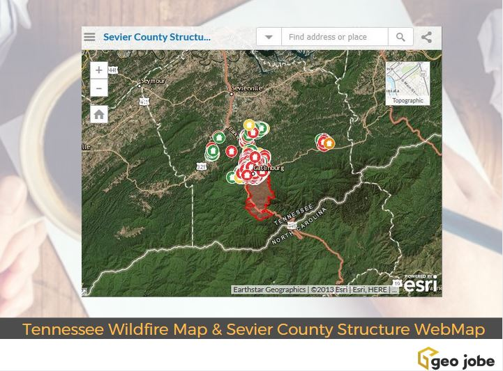 Tennessee Wildfire Map And Sevier County Structure Status Webmap Geo Jobe