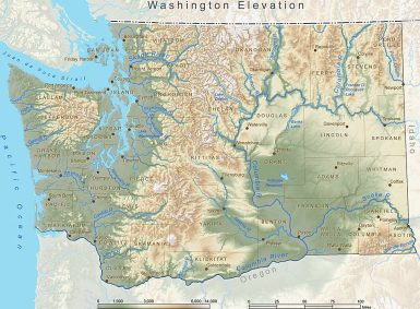 Washington state Elevation Map: Credit Esri