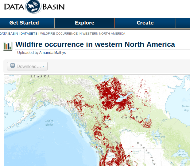 databasin wildfire map