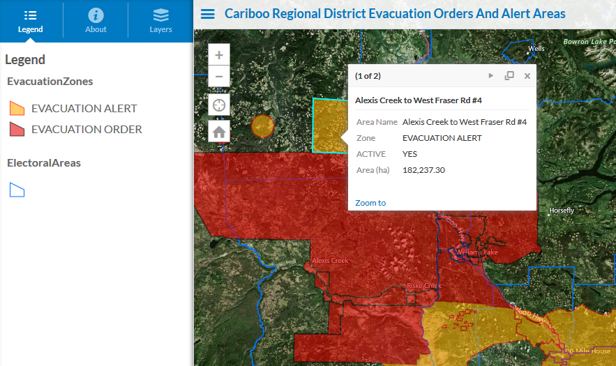 Cariboo Regional District Evacuation Orders And Alert Areas
