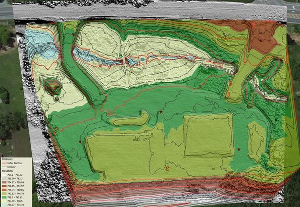 TIN model production on a 3 acre development site. 1ft contours & planimetrics.