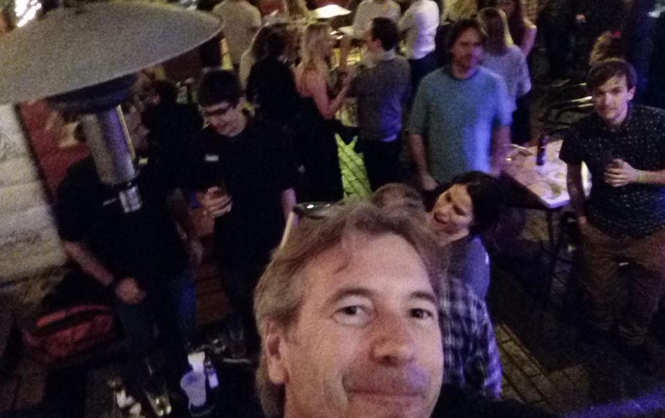Glenn, socializing with Esri Business Partners, Blue Raster after hours.