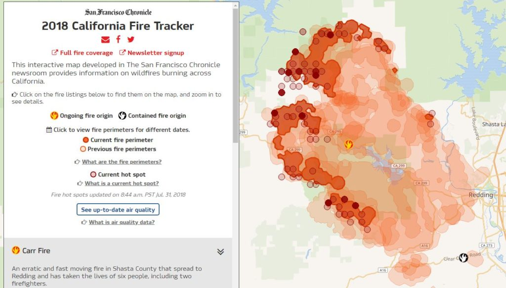 Northern California Fire Map 2018.Interactive Maps A Crucial Resource For Tracking Wildfires And