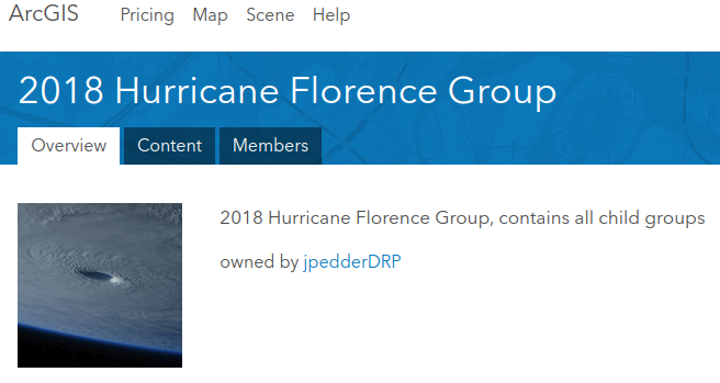 arcgis online - hurricane Florence Group