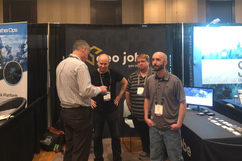 The GEO Jobe team at the 2018 GeoConX event (Image: @voyagersearch)