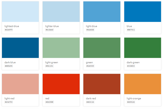 Display of some of the color options available in Esri Calcite